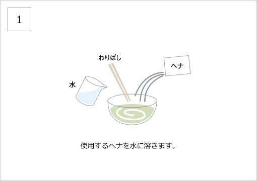 使用するヘナを水に溶きます。