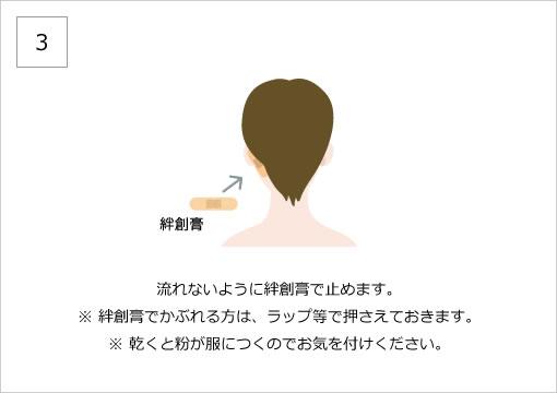 流れないように絆創膏で止めます。※ 絆創膏でかぶれる方は、ラップ等で押さえておきます。※ 乾くと粉が服につくのでお気を付けください。